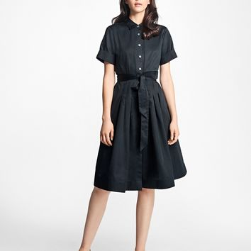 Cotton Sateen Shirtdress - Brooks Brothers