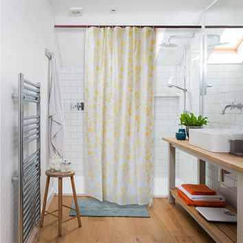 Shower Curtain Liner Mildew Resistant Waterproof Bathroom Curtains 84 X 54 inches with 8 Hooks Free Yellow Rose Print