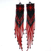Very Long Earrings. Black and Red Earrings. Native American Beaded Earrings Inspired. Shoulder Duster Earrings. Beadwork