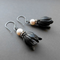 Romantic black tulip earrings / white freshwater pearl, Swarovski elements, oxidized brass