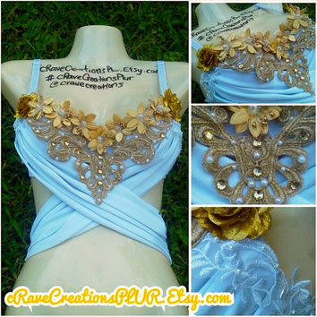 White and Gold Greek Goddess Bra, Gold Lace Flower Rave Bra Rhinestone Bling White Fabric Wrap Top Wrap Around Costume Custom Lingerie