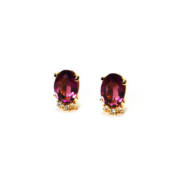 Christian Dior Amethyst Crystal and Rhinestone Clip Earrings