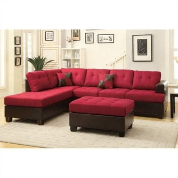 Red Upholstered Button Tufted Faux Leather Reversible Sectional Sofa w Ottoman
