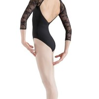 Bloch Adult Lace Bodice Open Back Long Sleeve Leotard- L6016
