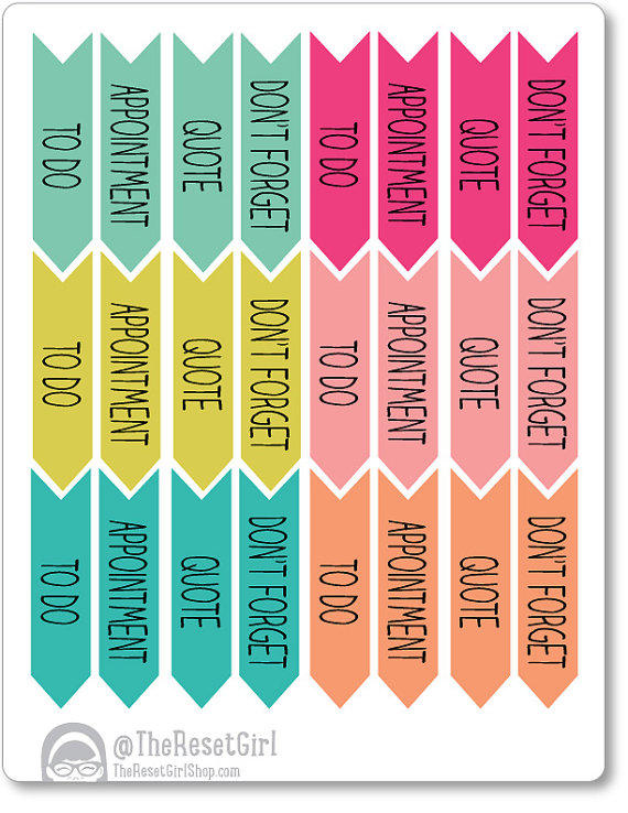 25 daily reminder arrow stickers planner from