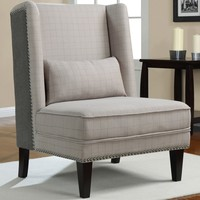 Gentleman's Grey Check Wing Chair