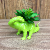 Up-cycled Lime Green Apatosaurus Dinosaur Planter
