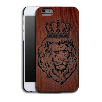 Lion Crown Luxury Carved Wood Hard Wooden Protector Back Case Cover for Apple iPhone 5s/SE/6/6 plus&Samsung Galaxy S6/S6 Edge/S7
