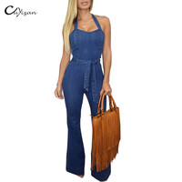 Cuyizan Sexy Denim women jumpsuit Elegant wide leg jeans Halter ladies boot cut bodysuit fashion plus size long pants overalls