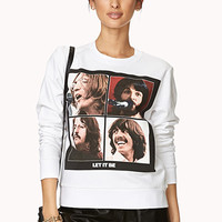 FOREVER 21 Let It Be Sweatshirt White/Black Small