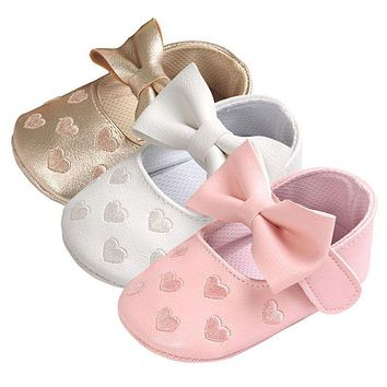 12 Colors Bebe PU Leather Baby Boy Girl Baby Moccasins Shoes Big Bow Embroidery Soft Soled Non-slip Footwear Crib Shoes