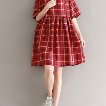 Cute Red Plaid Loose Women Cusual Dresses