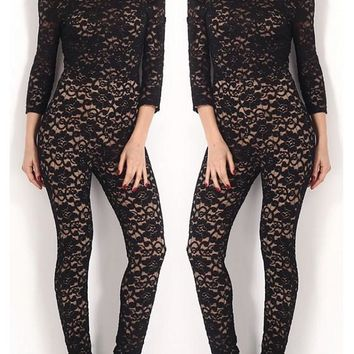 Black Plain Lace Cut Out Elastic Waist Fashion Long Jumpsuit