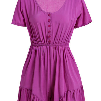 Purple V-Neck Short Sleeve Romper