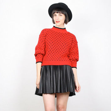 Vintage Red Black Sweater Polka Dot Jumper Pullover Preppy Sweater 1980s 80s Sweater New Wave Cosby Sweater Slouchy Crop S Small M Medium