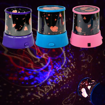 New Romantic Amazing Star Lover II Color Changing LED Flash Projector Projection Night Light Lamp