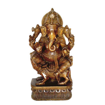 Hindu God  Ganesha Big Statue - 3 Ft tall Handmade Dark Wood