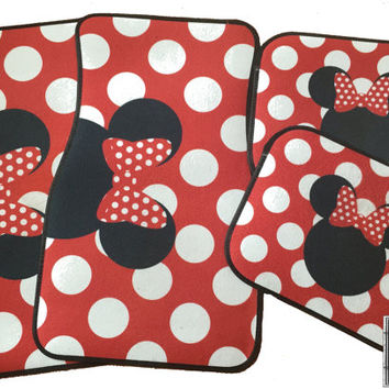 Car Mats Minnie Mouse Personalized Monogram Floor Car Mat Initial Red White Polka Dots