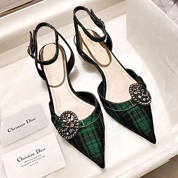 DIOR Fashionable Women Pointed Green Plaid High Heeled Sandals Shoes