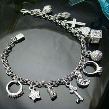 Fashion Women 925 sterling Silver Plated 13 Charm pendant Beautiful Bracelet