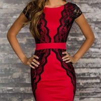Eyelash Lace Red Dress