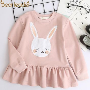 Bear Leader Girls Dress 2018 New Autumn Casual Style Children Clothes Long Sleeve White Rabbit Patch Design For Girls Clothes