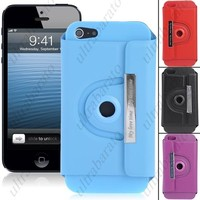 Protective 360 Degree Rotation Synthetic Leather Case Cover Shell for Apple iPhone 5 from UltraBarato Gadgets