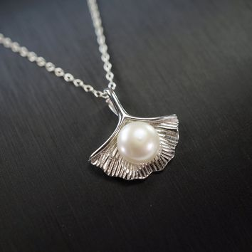 Freshwater Pearl Necklace - Full Sterling Silver Gingko Necklace - Single Freshwater Peal Choker