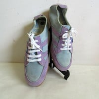 Vintage 70s North Star Sneakers RARE Light Blue Mauve Suede Running Shoes Trainers Womens 8