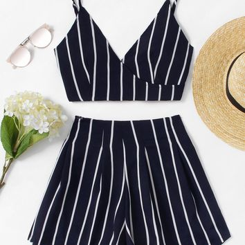 Stripe Surplice Bow Tie Open Back Crop Cami Top With Shorts NAVY