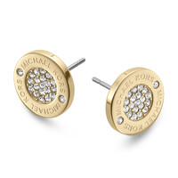 Logo Pave Stud Earrings, Golden - Michael Kors