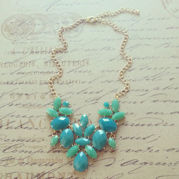 Kate Spade Inspired Necklace- Statement Necklace- Bib Necklace- Bubble Bib- Baubles-Bridesmaids Necklace,Green, Teal,