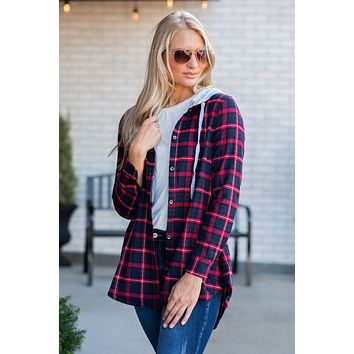 Camped Out Plaid Hoodie Shirt : Navy/Red