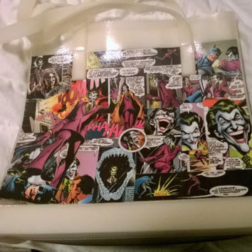 Batman and Joker Comic Book Decoupage Tote Bag