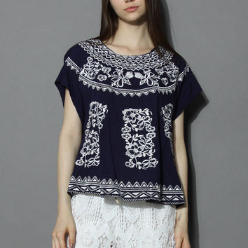 Botanic Embroidered Navy Smock Top Blue S/M
