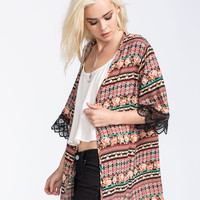 H.I.P. Mixed Media Crochet Sleeve Womens Kimono Multi  In Sizes