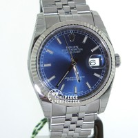 Rolex 36mm Datejust 116234 Blue Jublilee Steel White Gold Flutted Mens Watch