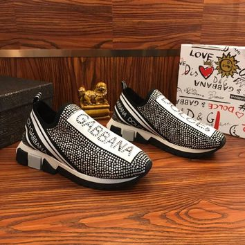 Dolce & Gabbana D&G Sorrento Sneakers With Rhinestones Silver - Best Online Sale