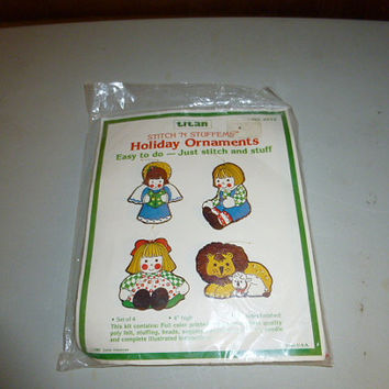 Vintage Titan Christmas Holiday Ornaments Kit Angel Rag Doll Lion Lamb Stitch 'N Stuffems