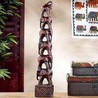 Stacking Wood Elephants  - Figures and Sculptures - Cost Plus World Market