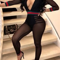Black Striped Grenadine Cut Out Deep V-neck Catsuit Clubwear Party Long Jumpsuit