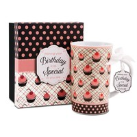 Jessie Steele 49033 You & Me 4-3/4-Inch Cherry Cupcake Mug, Happy Birthday, 12-Ounce