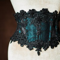 Heavy beaded dupioni silk mesh waspie  | gothic beaded corset | lace corsets | silk waist cincher | gothic boned waist beltbeaded