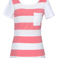 Pink Contrast Stripe Print Chest Pocket Detail T-shirt