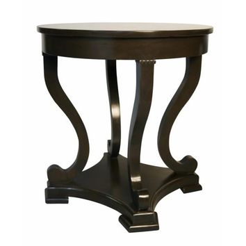 Odysseus  Round End Table, Distressed Brown