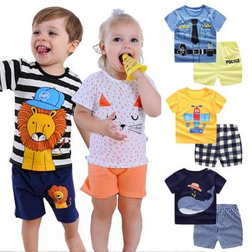 kids toddler boy summer clothes Cartoon striped shirt +Pants Baby girl outfit Infant Sport Suits tracksuit children clothes