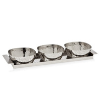 Croco Tray With 3 Square Bowls