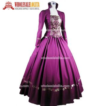 Purple Gothic Victorian Brocade Dress Ball Gown Steampunk Dress/Civil War Dresses/ Civil War Period Dress