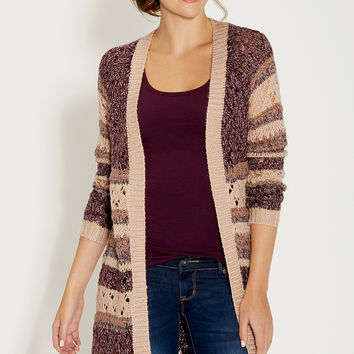duster with open stitching and metallic shimmer