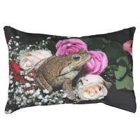Cane toad in flowers pet bed